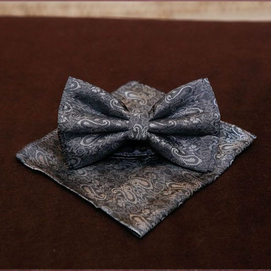 Silver And Grey Pattern Bow Tie 2