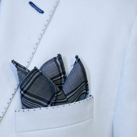 White And Black Dotted Pocket Square