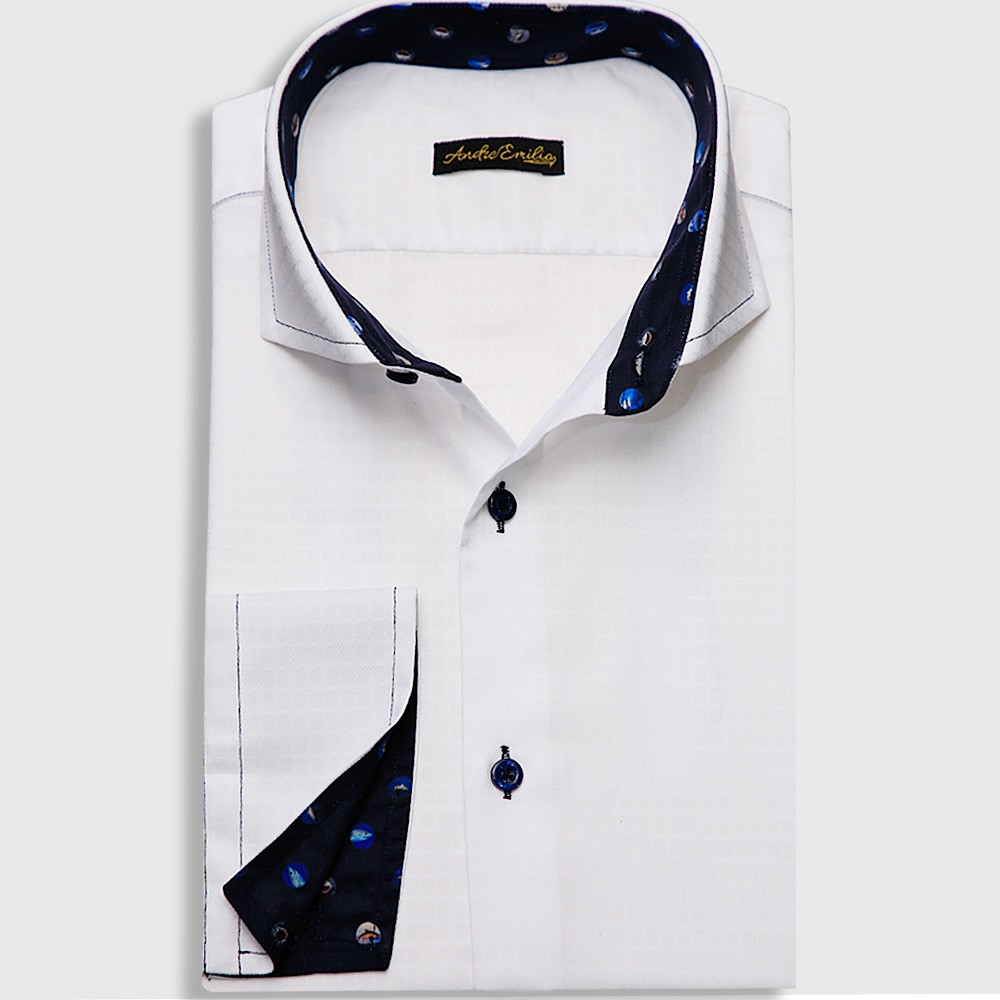 White Shirt With Fish Dots Trimming