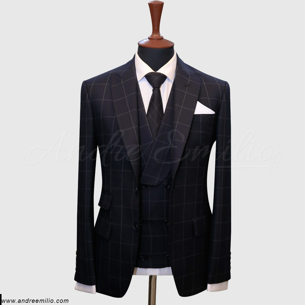 Ink Blue Windowpane Check Suit
