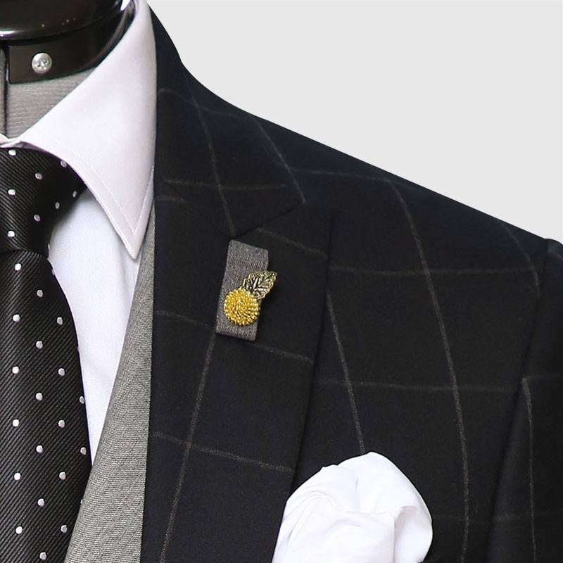 3 Piece Checked Black And Gray Suit Lapel