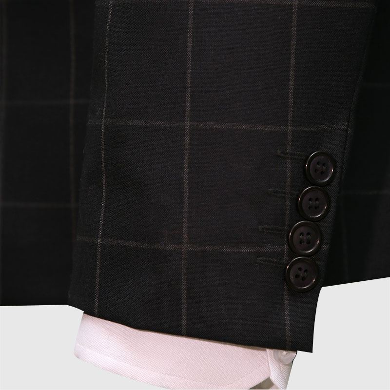 3 Piece Checked Black And Gray Suit Sleeves