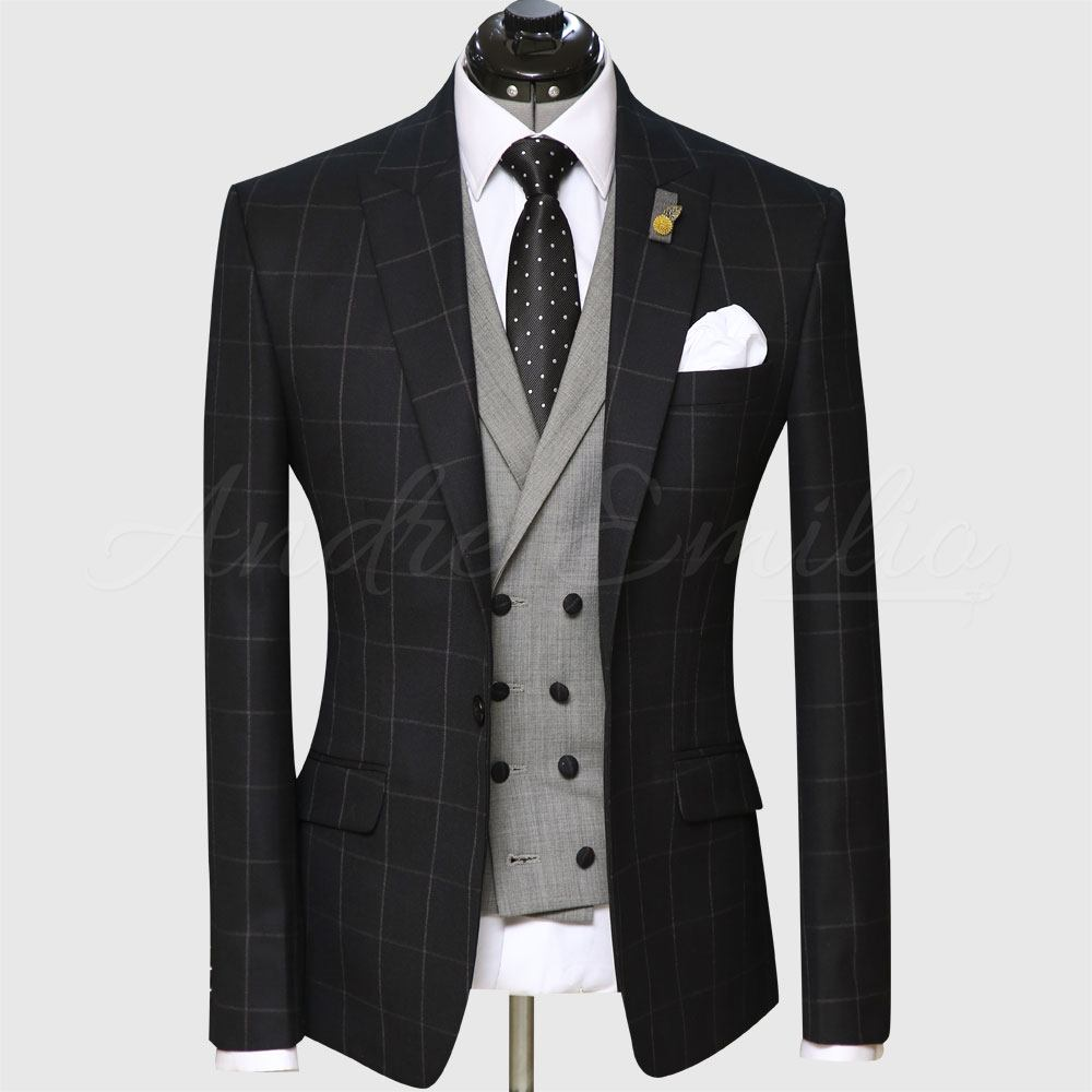 3 Piece Checked Black And Gray Suit