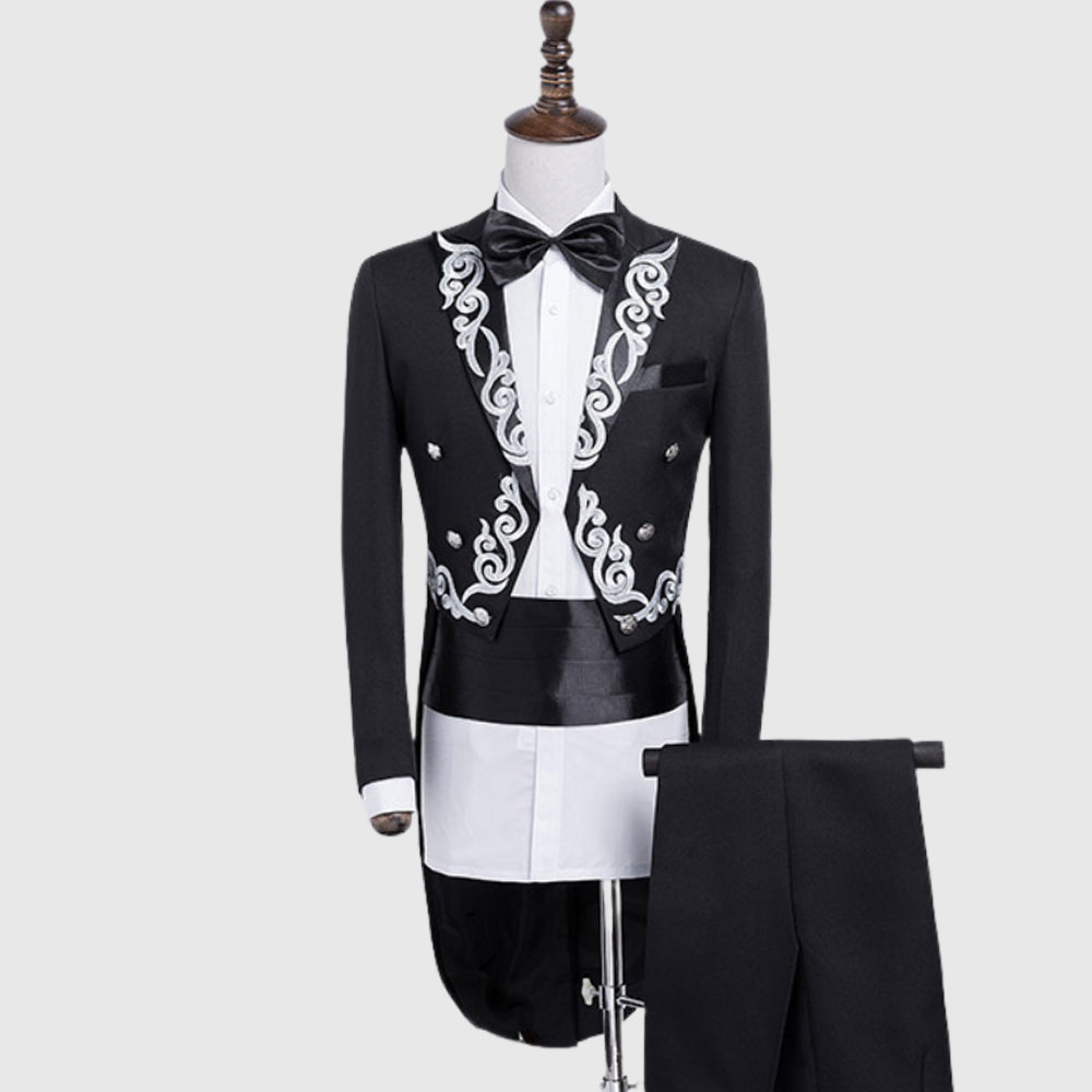 Black British Morning Tuxedo Suit With Silver Pattern