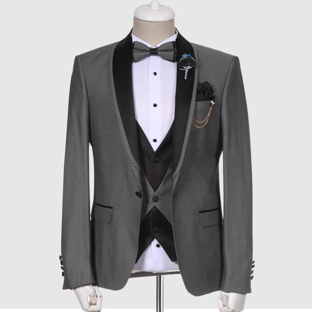 Dotted Gray Tuxedo Suit