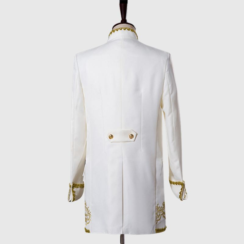 Primum White 3 Piece Suit With Golden Pattern Back