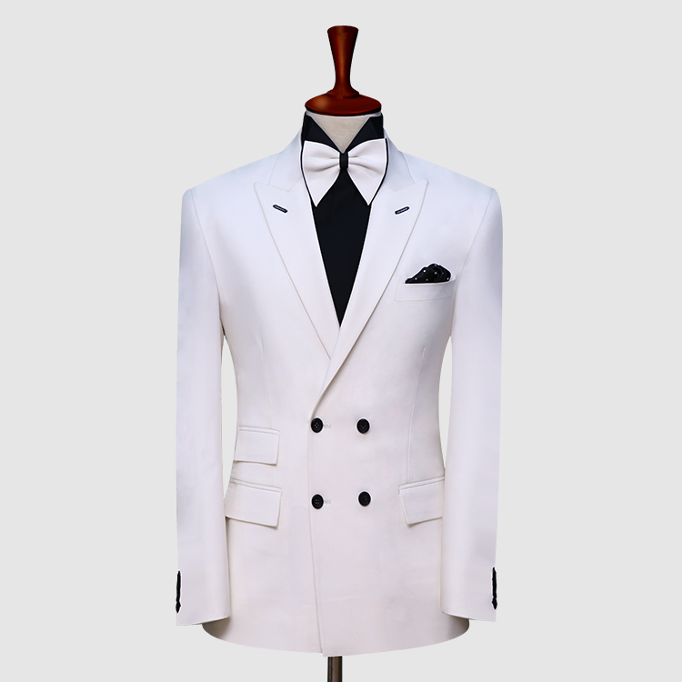 Double Breast White Suit