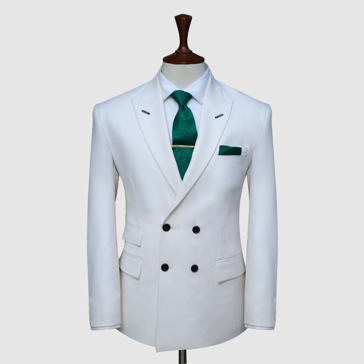 Double Breast White Suit With Tie