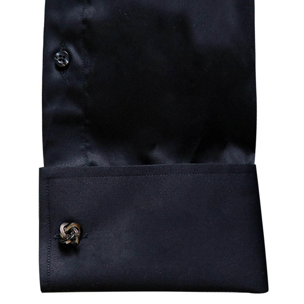 Men Black And Golden Embroided Shirt Sleeves